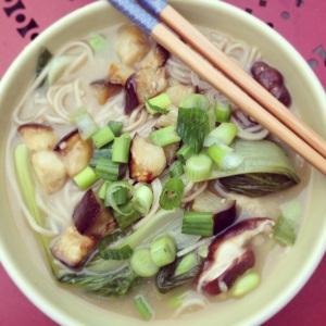 Soba noodles, eggplant, soup